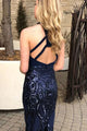 Memraid Jewel Sweep Train Keyhole Sequined Open Back Prom Dress C9