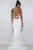 Mermaid Deep V-Neck Sweep Train White Stretch Satin Open Back Sleeveless Prom Dress C1