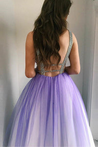 A-Line Deep V-Neck Floor-Length Purple Gradient Tulle Backless Prom Dress with Beading L27