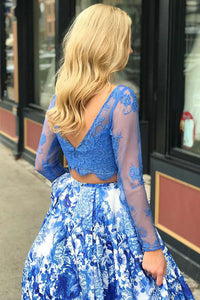 Two Piece Bateau Sweep Train Long Sleeves Blue Printed Satin Prom Dress with Beading Lace L20