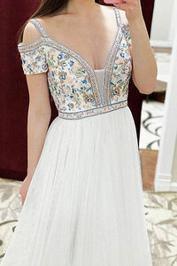 A-Line Square Sweep Train Cold Shoulder Empire White Tulle Prom Dress with Embroidery L18