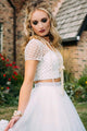 Two Piece Deep V-Neck Criss-Cross Straps Short Sleeves White Tulle Prom Dress with Beading L14