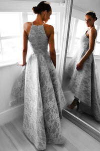 A-Line Halter Hi-Lo Floor-Length Sleeveless Grey Satin Prom Dress with Lace P37