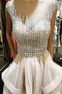 A-Line Jewel Floor-Length Champagne Tulle Prom Dress with Beading Ruffles P33