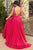 Simple A-Line Deep V-Neck Backless Sweep Train Fuchsia Long Satin Prom Dress OHC561
