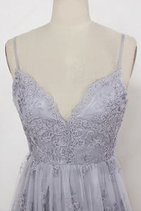 Sheath Spaghetti Straps Sweep Train Backless Grey Tulle Prom Dress with Appliques P24