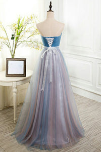 A-Line Sweetheart Floor-Length Blue Tulle Prom Dress with Beading OHC075 | Cathyprom