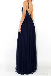 A-Line V-Neck Floor-Length Navy Blue Prom Dress with Sequins OHC009 | Cathyprom