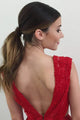 A-Line V-Neck Sleeveless Backless Sweep Train Red Lace Prom Dress OHC085 | Cathyprom