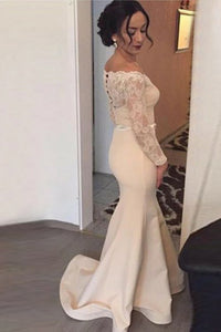 Mermaid Off-the-Shoulder Long Sleeves Sweep Train Prom Dress with Lace OHC091 | Cathyprom