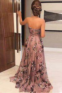 A-Line Sweetheart Sweep Train Blush Printed Chiffon Prom Dress with Beading Z39