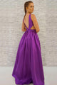 A-Line Deep V-Neck Backless Floor-Length Purple Satin Prom Dress with Pockets OHC019 | Cathyprom