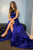 A-Line Crew Sweep Train Royal Blue Prom Dress with Pockets Split OHC553