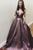 Elegant A-Line Deep V-Neck Sweep Train Metallic Brown Long Prom Dress with Pockets OHC567