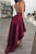 High Low Spaghetti Straps Sleeveless Backless Burgundy Taffeta Prom Dress OHC182 | Cathyprom