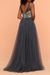 Sheath V-Neck Over Skirt Sweep Train Grey Prom Dress with Appliques Beading OHC003 | Cathyprom