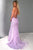 Mermaid Spaghetti Straps Lace Up Lilac Long Prom Dress with Appliques L38 | Cathyprom