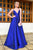 Simple A Line V-neck Sleeveless Royal Blue Backless Long Satin Prom Evening Dress OHC576