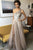 Charming A-Line One-Shoulder Floor-Length Long Champagne Prom Dress with Beading Split OHC566