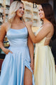 A-Line Spaghetti Straps Criss-Cross Back Light Blue Prom Dress with Pockets Split LPD96 | Cathyprom