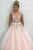 A-Line V-Neck Floor-Length Pink Prom Dress with Appliques Beading L39 | Cathyprom