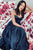 A-Line Sweetheart Ankle-Length Dark Blue Pleated Prom Party Dress L52 | Cathyprom
