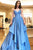 A-Line Spaghetti Straps Floor-Length Blue Satin Tiered Prom Dress OHC559