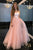 A Line Strapless Floor-Length Pink Tulle Prom Party Dress with Belt OHC555