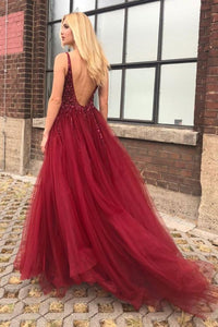 A-Line V-Neck Backless Sweep Train Burgundy Prom Dress with Beading Split L7