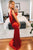Mermaid V-Neck Backless Sweep Train Red Prom Party Dress with Split LPD92 | Cathyprom