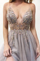 A-Line Spaghetti Straps Sweep Train Lavender Prom Dress with Beading Split LPD98 | Cathyprom