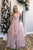 A-Line Sweetheart Floor-Length Lilac Tiered Prom Dress with Lace OHC560