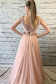 Chic Two Piece Round Neck Cap Sleeves Backless Prom Dress with Lace Beading OHC181 | Cathyprom