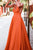Simpel A-Line Deep V-Neck Floor-length Pleats Backless Prom Dress OHC163 | Cathyprom