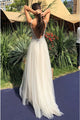 A-Line V-Neck Backless Floor-Length Ivory Tulle Prom Dress with Beading Z15