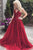 Elegant A-line V-neck Sleeveless Long Lace Red Prom Evening Dress with Appliques OHC578