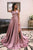 Modest V-neck Sleeveless High Split Front Sweep Train Cross Back Prom Dresses OHC575