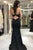 Black Crew Open Back Long Prom Dress Mermaid Beaded Evening Dress LPD94 | Cathyprom
