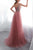 A-Line V-Neck Sweep Train Pink Tulle Prom Dress with Beading OHC036 | Cathyprom