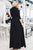 A-Line V-Neck 3/4 Sleeves Cold Shoulder Black Long Prom Dress with Split Sash CAD64 | Cathyprom