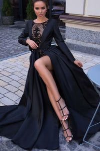 A-Line Round Neck Long Sleeves Overskirt Black Long Prom Dress with Lace CAD65 | Cathyprom