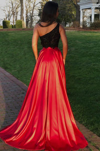 Two Piece One-Shoulder Lace Bodice Sweep Train Red Prom Dress with Split OHC037 | Cathyprom