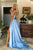 Simple Prom Dress A-Line V-Neck Open Back Sweep Train Light Blue Long Prom Dress with Split OHC568