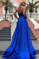 A-Line Halter Backless Sweep Train Royal Blue Prom Dress with Split LPD88 | Cathyprom
