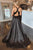 Simple A-Line Deep V-Neck Criss-Cross Back Sweep Train Black Prom Dress with Split OHC580