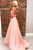 Charming A-Line Halter Backless Sweep Train Long Pink Prom Dress with Appliques OHC579