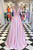 Simple A-line V-neck Sleeveless Long Pink Satin Prom Dress with Beading OHC573
