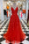 Elegant A-Line Spaghetti Straps Red Tulle Sweep Train Long Prom Evening Dress OHC571