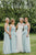 A-Line Sweetheart Floor Length Long Chiffon Light Blue Bridesmaid Dress OHS145
