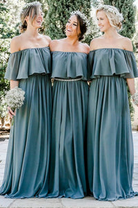 A-Line Off-the-Shoulder Floor-Length Chiffon Bridesmaid Dress with Ruffles OHS048 | Cathyprom